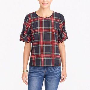J. crew plaid ruffle sleeve blouse M